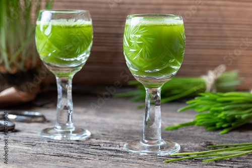 Two glasses of barley grass juice, with fresh barley grass in the background Fototapete