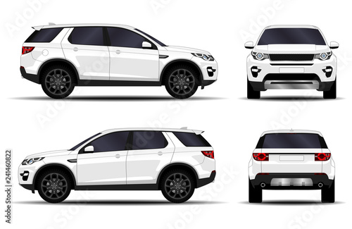 Obraz realistic SUV car. front view; side view; back view. - fototapety do salonu
