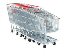 Row From Shopping Carts, 3D Rendering