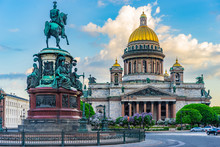 Saint Petersburg. Russia. Architecture Of Petersburg. Saint Isaac's Cathedral. Center Of Petersburg. St. Isaac's Square. Poster Of Russian Cities. City In The Summer.