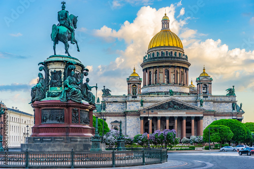 Obraz Saint Petersburg. Russia. Architecture of Petersburg. Saint Isaac's Cathedral. Center of Petersburg. St. Isaac's Square. Poster of Russian cities. City in the summer. - fototapety do salonu