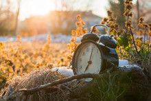 MORNING ALARM CLOCK IN A COLD ICY GRASS WITH SUNRISE