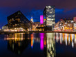Liverpool waterfront, night time scene, Albert dock.