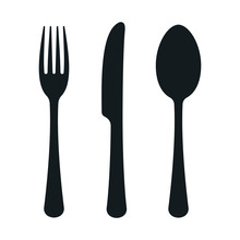 Fork, Knife And Spoon. Kitchen Icon. Vector