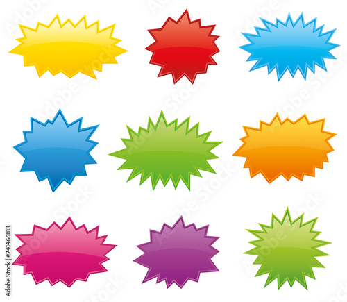 Obraz Starburst coloured speech bubbles collection vector - fototapety do salonu