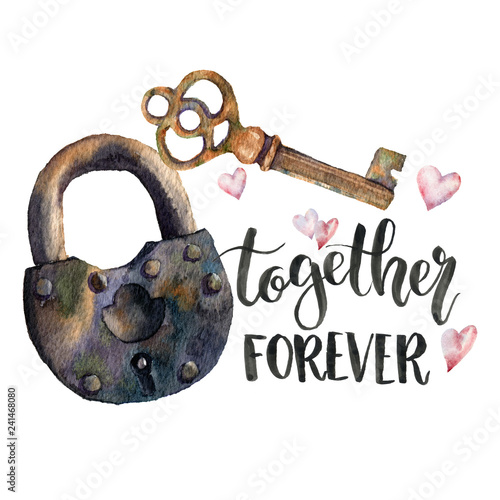 Fototapeta Watercolor Together forever card with lock and key