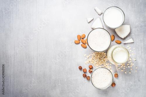 Vegan non dairy alternative milk top view.