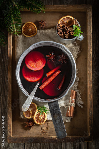 Aromatic and strong mulled red wine for Christmas
