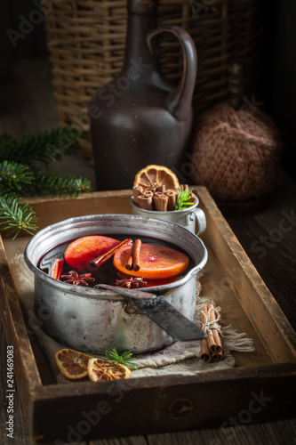 Sweet and delicious mulled red wine with cinnamon and oranges