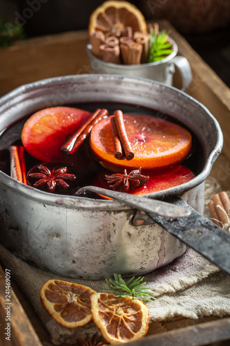Tasty and homemade mulled red wine for Christmas