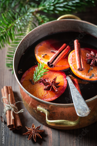 Homemade mulled red wine with cloves and anise
