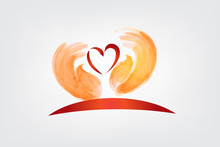 Love Heart And Children Hands Logo Vector Image
