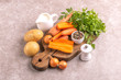 Fresh ingredients for tasty pureed carrot soup. Healthy food