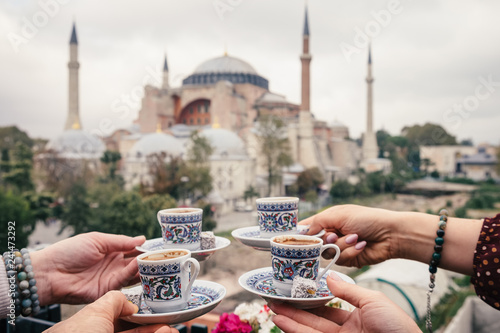 Turkish coffee with Hagia Sophia in background, Istanbul, Turkey Wallpaper Mural