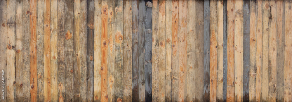 Fototapeta Brown wood colored plank wall texture background