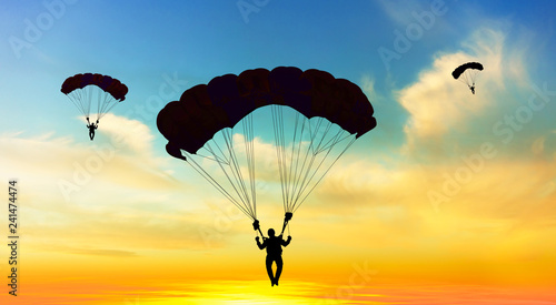 Spoed Foto op Canvas Luchtsport Silhouette parachutist landing at sunset