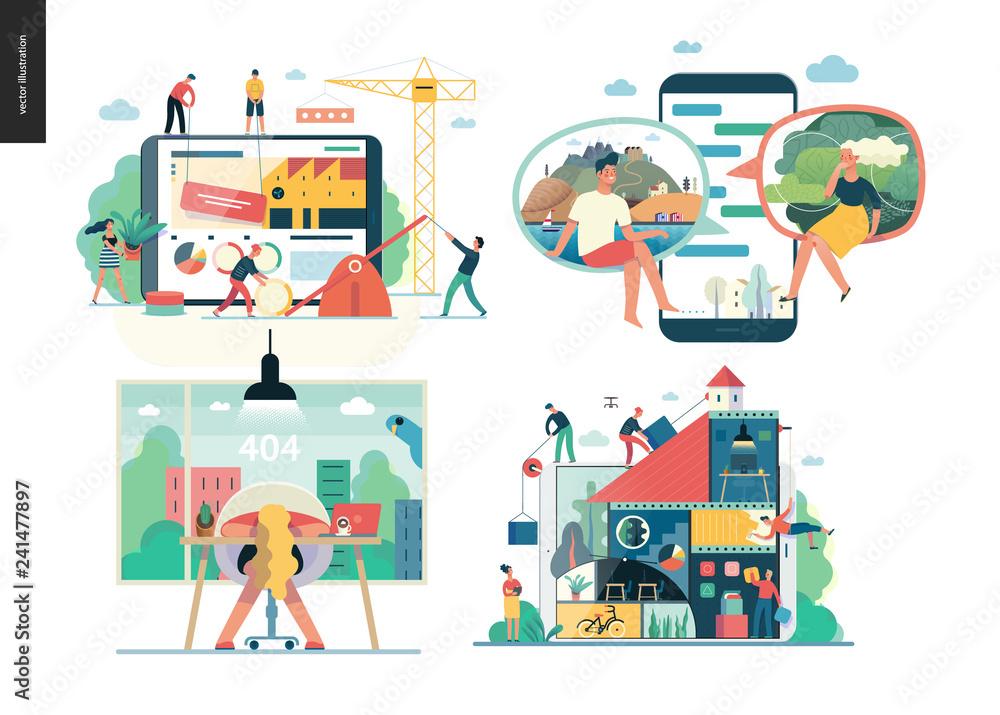Fototapeta Business series set, color 1 - modern flat vector concept illustrated topics - Company, teamwork, collaboration, chat, error 404. Creative landing web page design template