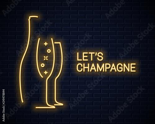 Fotografía  champagne bottle neon banner and champagne glass neon