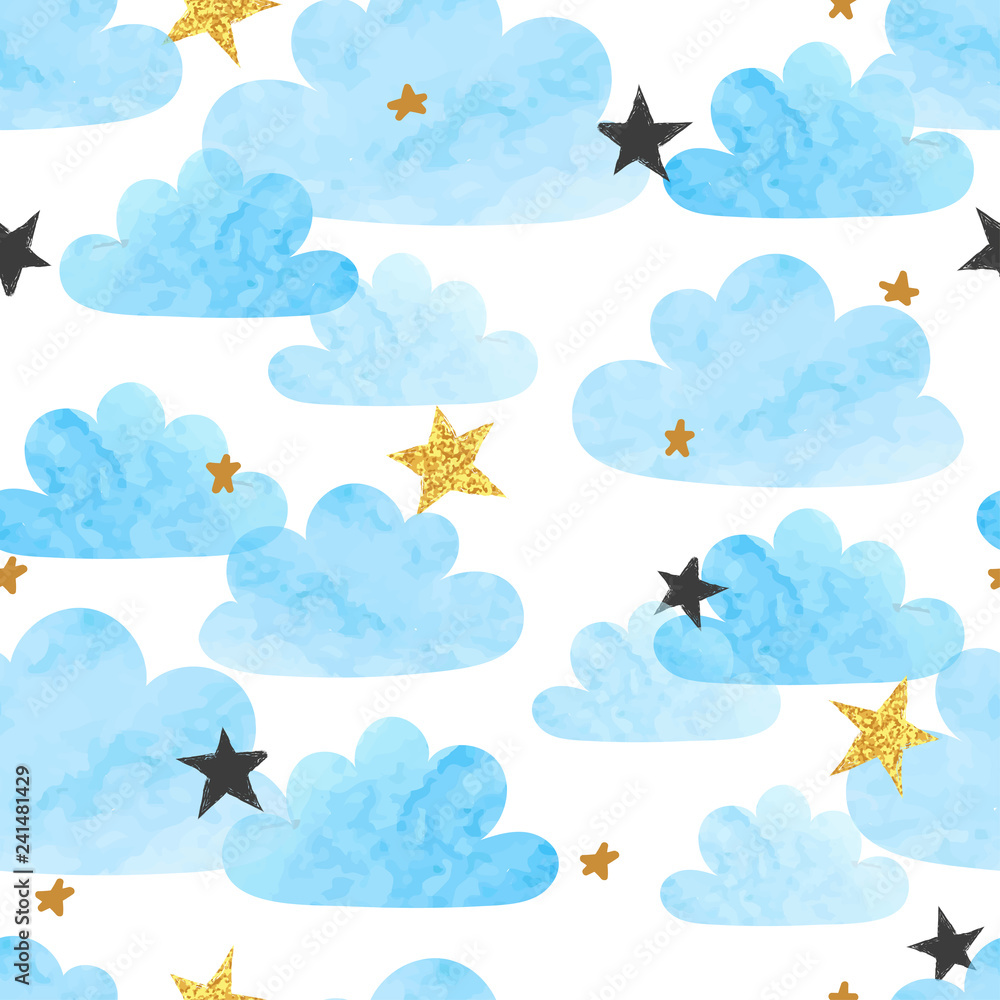 Fototapeta Seamless vector blue watercolor clouds and stars pattern.