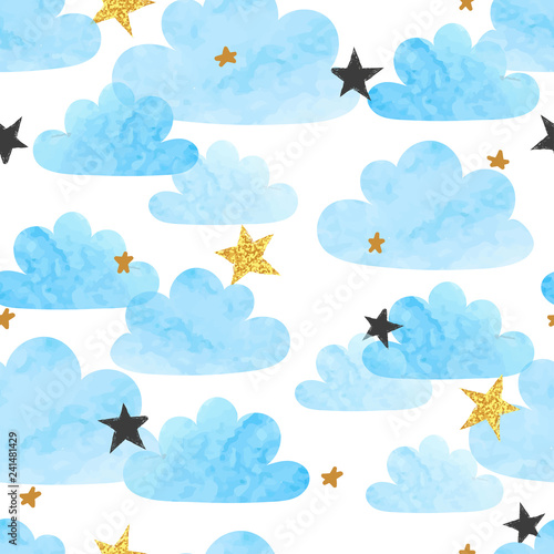Fototapeta Seamless vector blue watercolor clouds and stars pattern.  obraz