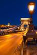 Leinwanddruck Bild - Kettenbrücke und Burgberg bei Nacht, Budapest