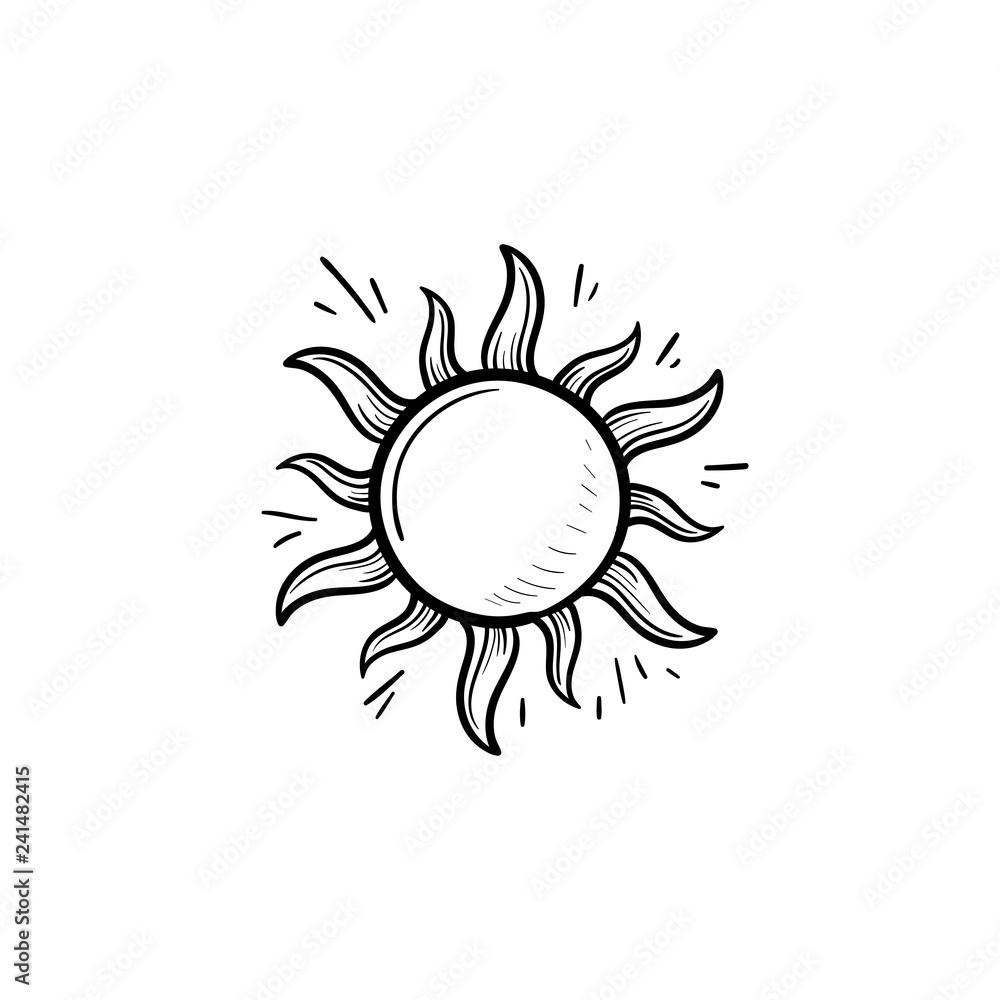 Fototapeta Shining sun hand drawn outline doodle icon. Summer weather and sunlight, heat and sunshine concept. Vector sketch illustration for print, web, mobile and infographics on white background.
