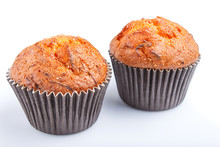Two Carrot Muffins Isolated On White Background