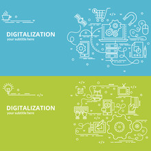 Flat Colorful Design Concept For Digitilization. Infographic Idea Of Making Creative Products. Template For Website Banner, Flyer And Poster..