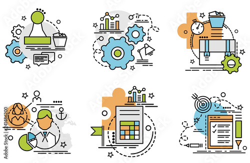 Flat colorful design concept for Audit. Infographic idea of making creative products. Colorful icons for website, mobile, app design and print..
