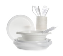 Plastic Dishware Isolated On W...