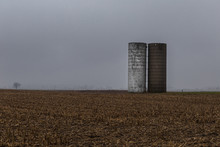 Two Silos Offset To The Right ...