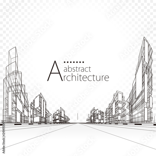 3D illustration architecture building perspective lines, modern urban architecture abstract background design.