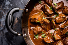 Mutton Liver Fry Or Kaleji Masala, Popular Non Vegetarian Recipe From India And Pakistan. Served Dry Or With Curry In A Bowl, Karahi Or Plate