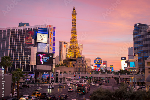 A colorful sunset sky at the Las Vegas strip in Nevada Canvas Print