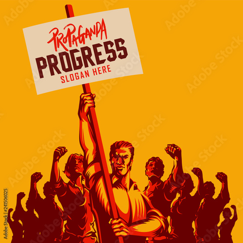 Photo One Man Holding a Blank Placard with Large Crowd of People with Their Hands Raised in the Air vector illustration