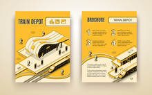 Railway Transport Company Isometric Vector Advertising Brochure, Promotional Leaflet Or Annual Report Pages Template With High-speed Passenger Locomotive Stopped In Modern Train Depot Illustration