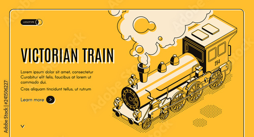 Cuadros en Lienzo Railway transport history museum isometric vector web banner