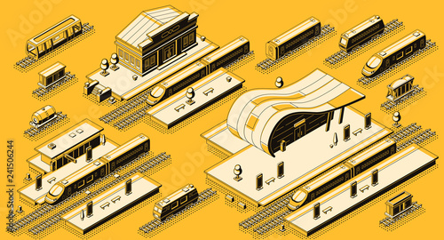 Photo Train station buildings with platforms and electric, diesel locomotives with passenger and freight wagons on rails isometric vector set
