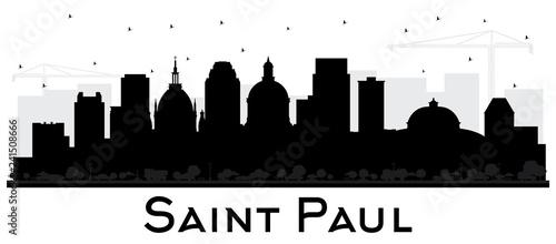 Fotografía  Saint Paul Minnesota City Skyline Silhouette with Black Buildings Isolated on White