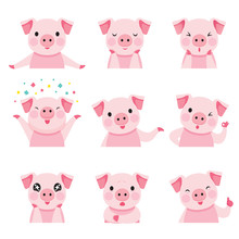 Pig Emoticons Icons Set, Year Of The Pig, Food, Piglet, Imoji