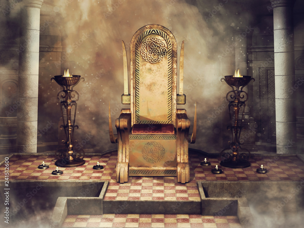 Fototapeta Fantasy Celtic throne with burners and candles. 3D render.
