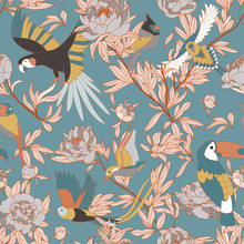 Seamless Pattern With Peonies And Parrots Weaving Together. Bright Tropical Pattern, Flowering Peonies, And Birds. On Blue