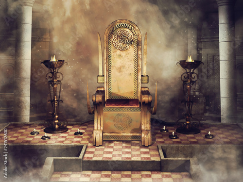 Fototapety Fantasy fantasy-celtic-throne-with-burners-and-candles-3d-render