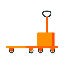 Platform Trolley Icon Sign Flat Style Design Vector Illustration. Warehouse And Cargo Cart, Delivery And Lift, Industry Equipment, Factory Industrial Loader Trolley Isolated On White Background.