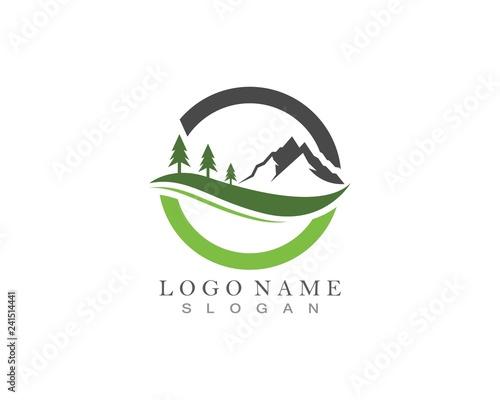 Nature mountain logo design template