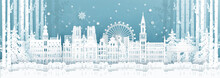 Panorama Postcard And Travel Poster Of World Famous Landmarks Of Belgium In Winter Season In Paper Cut Style Vector Illustration