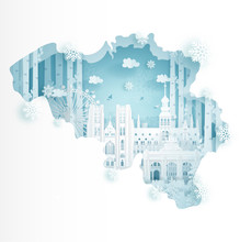 Winter In Belgium For Travel And Tour Advertising Concept With World Famous Landmark In Paper Cut Style Vector Illustration