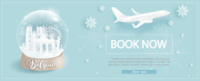 Flight And Ticket Advertising Template With Travel To Belgium In Winter Season With Famous Landmarks In Paper Cut Style Vector Illustration