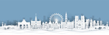 Panorama View Of Belgium Skyline With World Famous Landmarks In Paper Cut Style Vector Illustration
