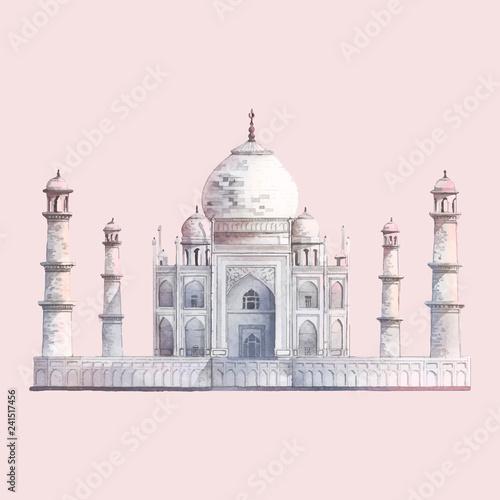 Fotografie, Obraz  The Taj Mahal in Agra, India watercolor illustration